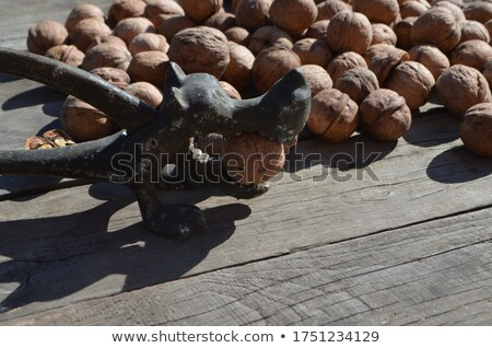 Nutcracker and nuts lying on table Stock photo © dash
