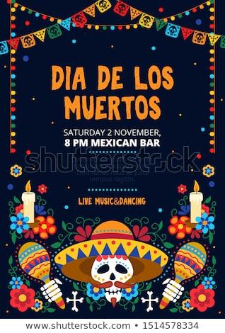 Giorno morti mexican cranio arte biglietto d'auguri Foto d'archivio © cienpies