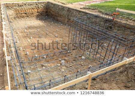 New Swimming Pool Steel Rebar Framing Construction Site Stock photo © feverpitch