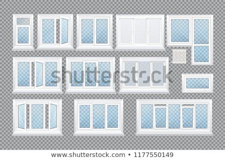 Foto stock: Arco · varanda · branco · janela · isolado · casa