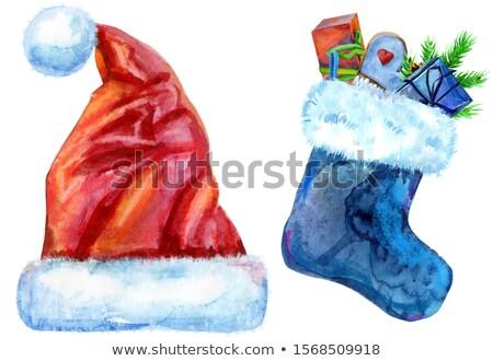 Karácsony kék zokni fehér szőr ajándékok Stock fotó © Natalia_1947