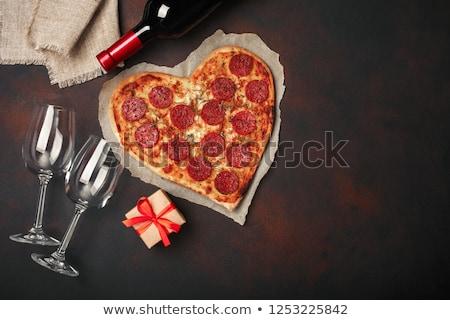 Szív alakú pizza pepperoni valentin nap üdvözlőlap Stock fotó © karandaev
