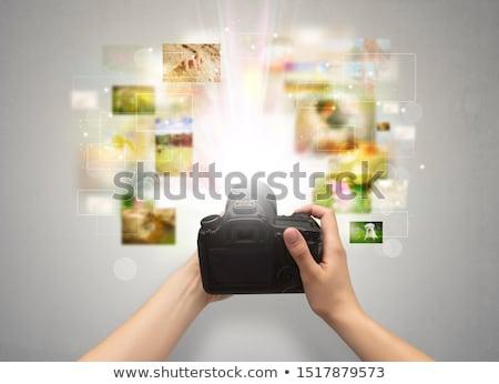 Kéz élet események digitális fényképezőgép elvesz esemény Stock fotó © ra2studio
