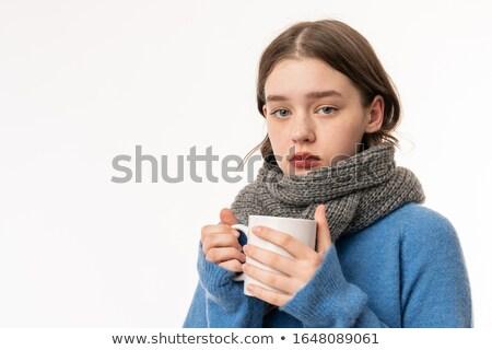 belo · mulher · jovem · bebida · quente · coberto · branco - foto stock © deandrobot
