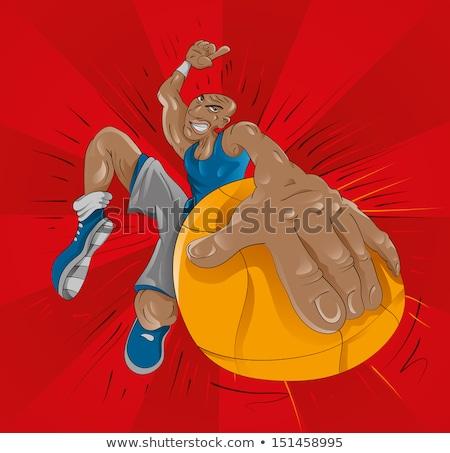 Angry Cartoon Black Basketball Player Stock photo © cthoman