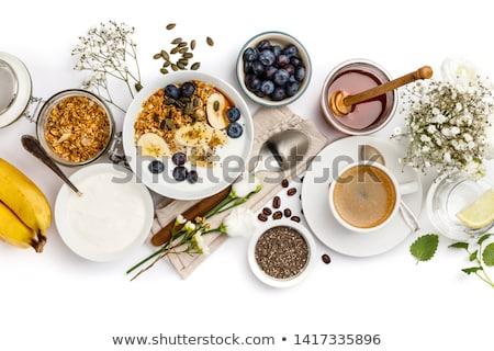 Saudável café da manhã variedade cereais fruto iogurte Foto stock © mythja