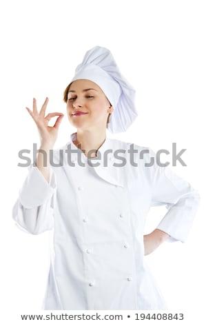 Vrouwelijke bakker zwarte schort hoed illustratie Stockfoto © colematt