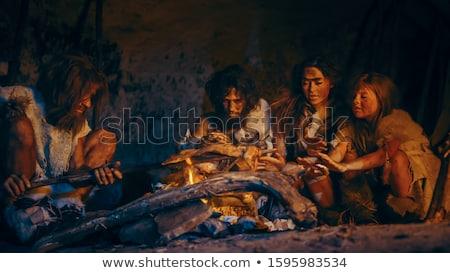 穴居人 実例 セット 火災 グループ 図面 ストックフォト © colematt