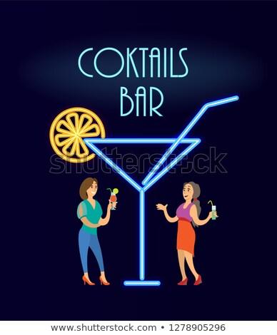 Cocktails bar néon mulheres vestido de noite vetor Foto stock © robuart