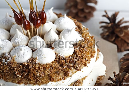 Cake karamel amandelen houten koffie ei Stockfoto © Alex9500