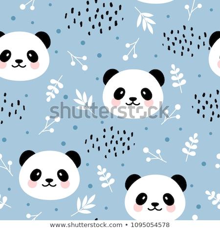 Establecer panda ilustración diseno tener dibujo Foto stock © colematt