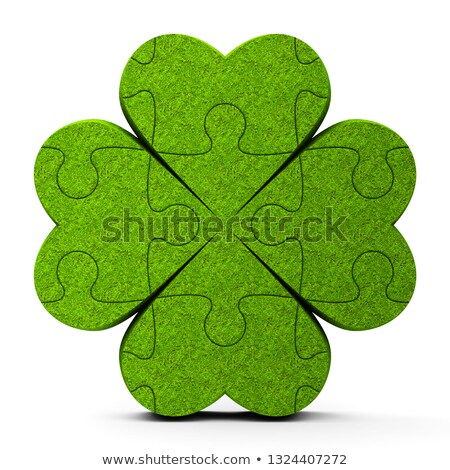 green puzzle trefoil sign stock photo © oakozhan