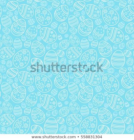 Húsvét kellemes húsvétot színes tojások kosár asztal Stock fotó © choreograph