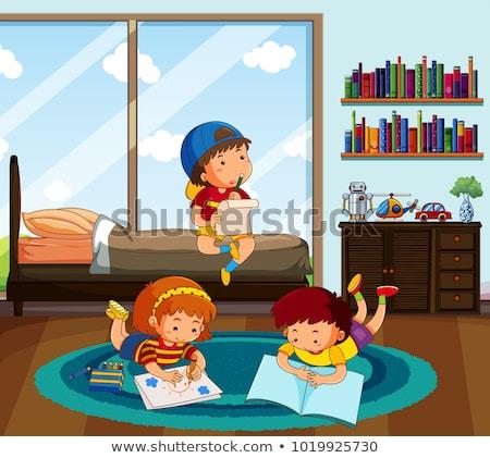Foto stock: Três · crianças · lição · de · casa · quarto · ilustração · criança