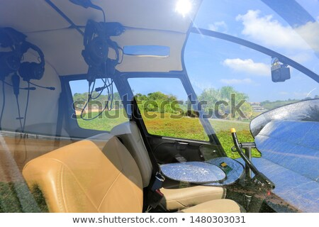 Foto stock: Helicopter With Cabin Pilot Propellers Transport