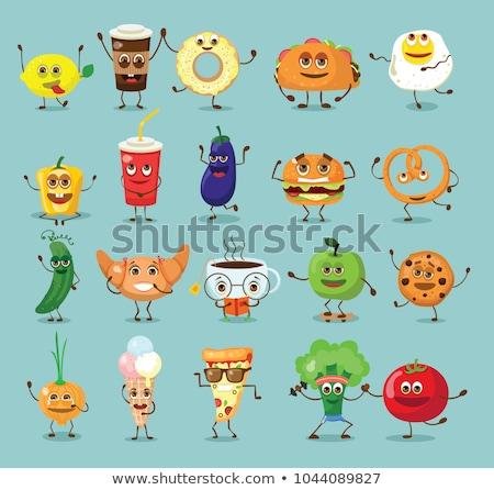 Komik sebze fast-food ayarlamak vektör Stok fotoğraf © Decorwithme