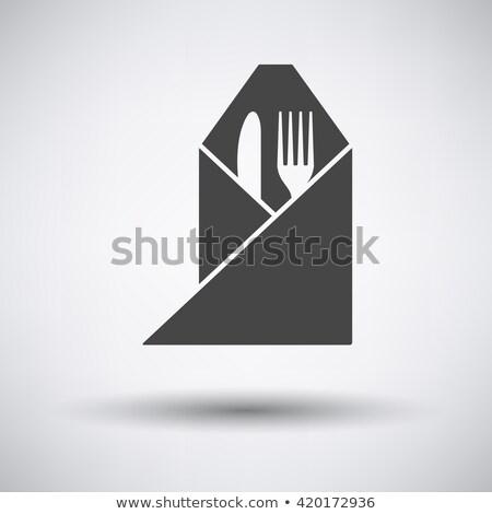 вилка ножом салфетку икона шаблон синий Сток-фото © angelp