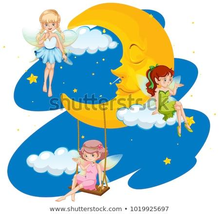 Three fairies flying in sky at nighttime Stock photo © colematt