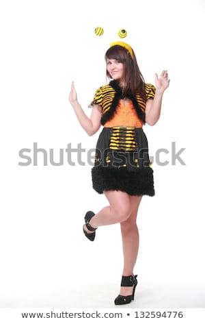 grappig · bee · zwarte · vliegen · witte - stockfoto © elnur