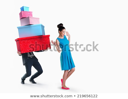 woman happy surprise. man with money gift. isolate on white background Stock photo © studiostoks