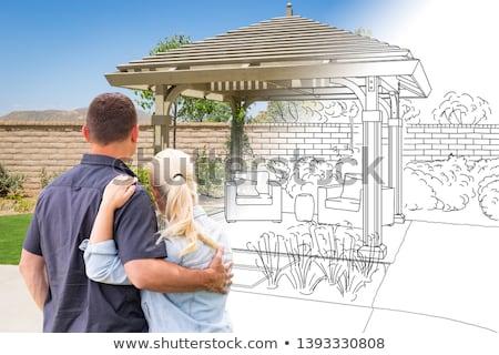 Pár szemben rajz fotó épület férfi Stock fotó © feverpitch