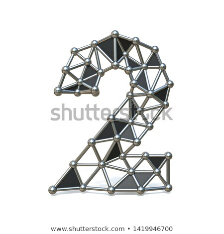Wire low poly black metal Number 2 TWO 3D Stock photo © djmilic