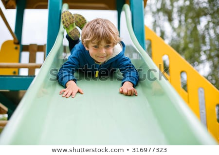 Little boy having fun on a playground outdoors in summer. Toddler on a slide. Stock photo © Lopolo