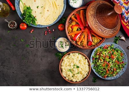 couscous · bambu · tigela · tabela · trigo - foto stock © bdspn