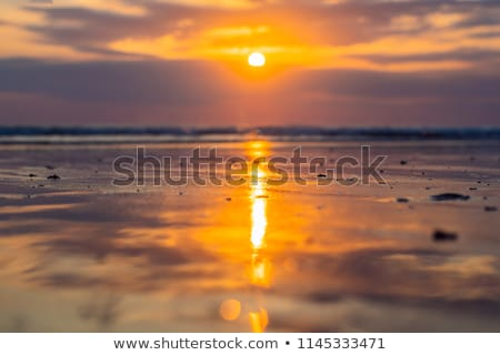 Sunset on the Kuta beach with reflection in the water on the island of Bali Stock photo © galitskaya