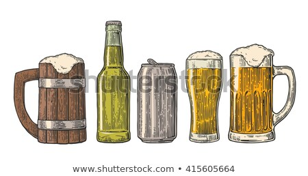 Hand Drawn Color Glass With Froth Bubble Beer Vector Stock photo © pikepicture
