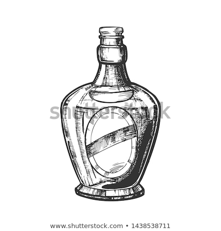 Drawn Blank Bottle Of Scotch With Cork Cap Vector stock photo © pikepicture
