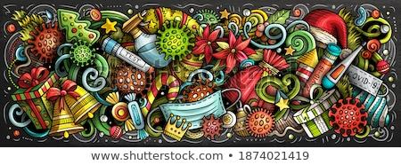 Cartoon doodles cute Winter horizontal stripe illustration. Stock photo © balabolka