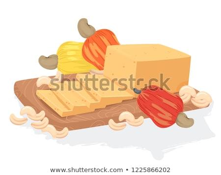 Vegan kesudió sajt illusztráció tábla gyümölcsök Stock fotó © lenm