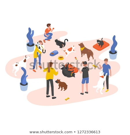 Stok fotoğraf: Isometric People Volunteering In Animal Shelter Illustration
