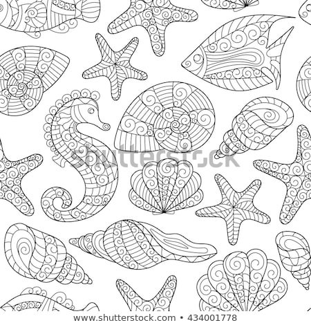 Vector seamless pattern with colorful shells. Ornament with seashells Stock photo © user_10144511