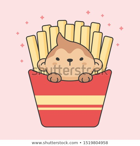 Cute monkey in french fries box Stock photo © amaomam