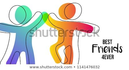 Barátság nap kártya színes pálcikaember barátok Stock fotó © cienpies