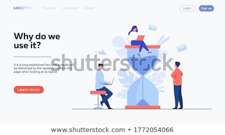 retro · vrouw · werken · geïsoleerd · kantoor · werk - stockfoto © robuart