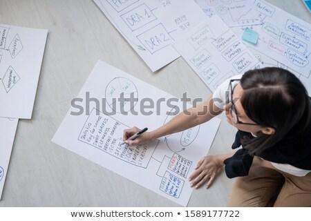 Młodych kobiet pośrednik wyróżnienia rysunek pracy Zdjęcia stock © pressmaster