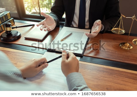 Foto stock: Lawyer Lawsuit Notary Consultation Or Discussing Negotiation Leg