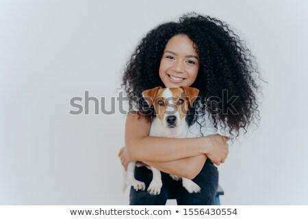 Mensen dier pet care gekruld vrouw favoriet Stockfoto © vkstudio