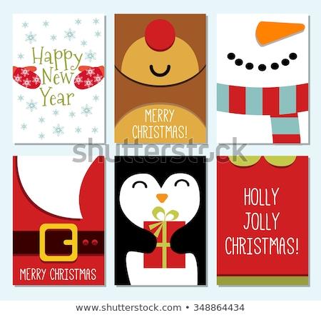 Joyeux Noël happy new year elf lettre célébration Photo stock © robuart