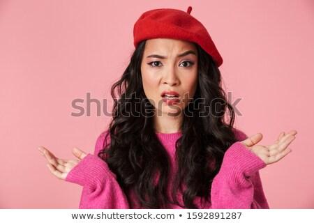 изображение недовольный красивой азиатских девушки Сток-фото © deandrobot