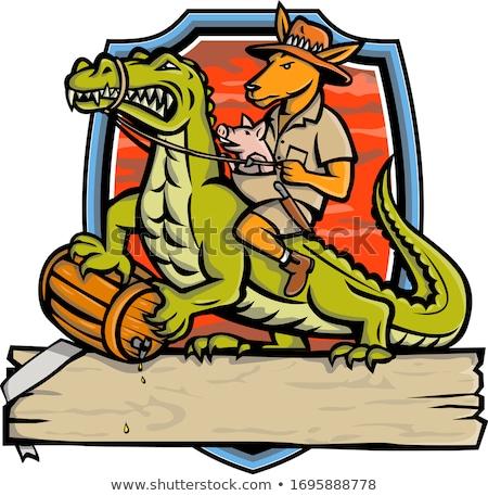 Kangourou équitation crocodile crête mascotte icône Photo stock © patrimonio