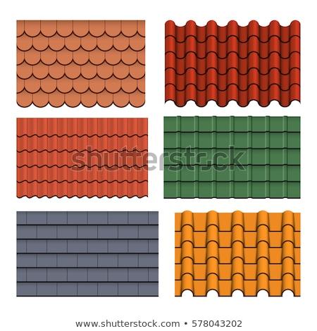 Toit carrelage orange blanche nouvelle structure Photo stock © FOKA