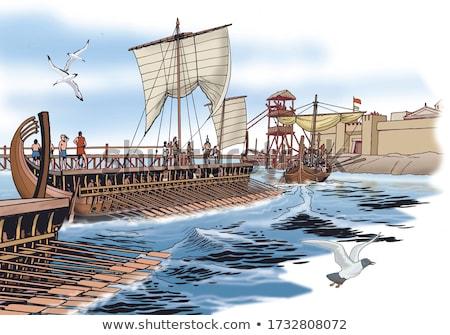 kikötő · vár · küldetés · víz · óceán · háború - stock fotó © fxegs