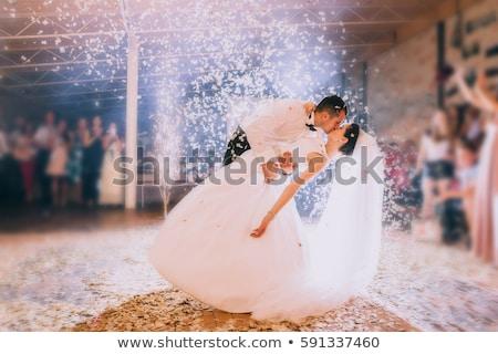 Kleurrijk bruid bruidegom gelukkig familie vrouwen Stockfoto © cidepix