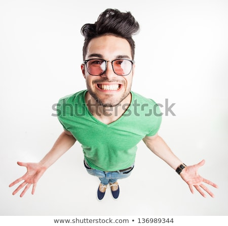 View from above of man in glasses Stock photo © HASLOO