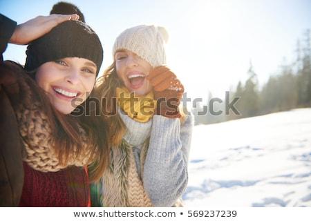 женщины · питьевой · горячий · напиток · улице · зима · молодые - Сток-фото © phbcz