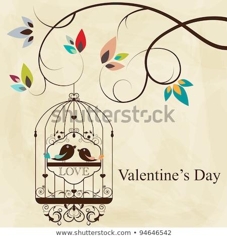 バレンタイン · 鳥 · 手 · 図面 · 花 · 紙 - ストックフォト © Elmiko